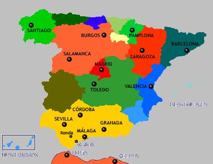 Lisbon Spain Map.Map Of Spain From Lisbon To Madrid To Sevilla To Malaga To