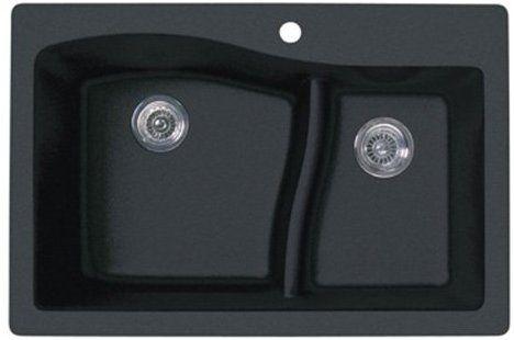 Swanstone Qz03322ls 077 Granite 1 Hole Dual Mount Single Bowl Kitchen Sink 33 In L X 22 In H X 10 In H N Drop In Kitchen Sink Granite Sink Black Kitchen Sink