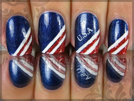 Patriotic Nail Art for the Fourth of July or the Olympic Summer Games. red white and blue