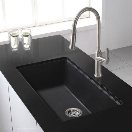 Kraus Kgu 413b Black Onyx 31 1 2 Single Basin Undermount Granite Composite Kitchen Sink In 2021 Black Kitchen Sink Undermount Kitchen Sinks Granite Kitchen Sinks