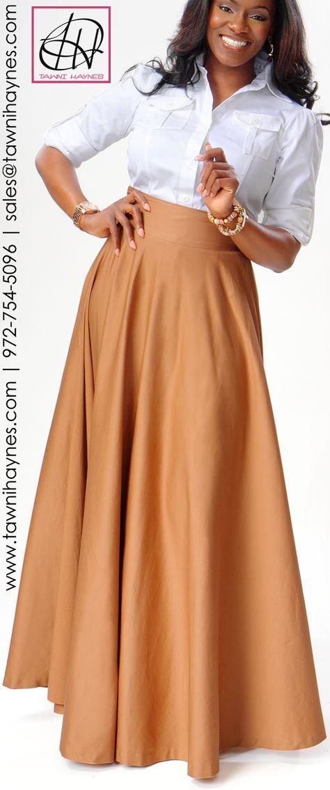 Tawni Haynes Military Blouse  Floor Length High Waist Swing Skirt. Order by phone 972-754-5096, online http://www.tawnihaynes.com/blog/military-blouse-with-floor-length-high-waist-swing-skirt/