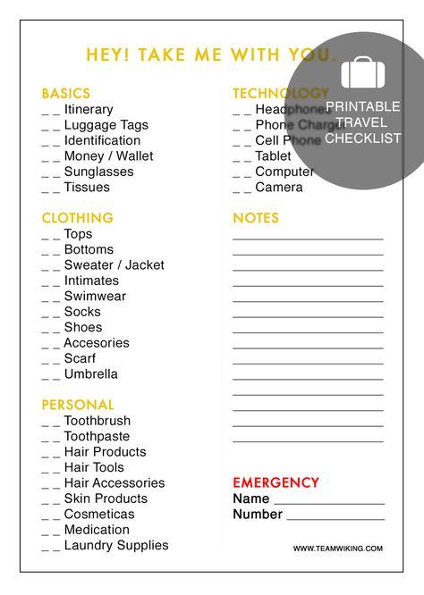 Gillian Thys (gillianthys49) on Pinterest - packing checklist template