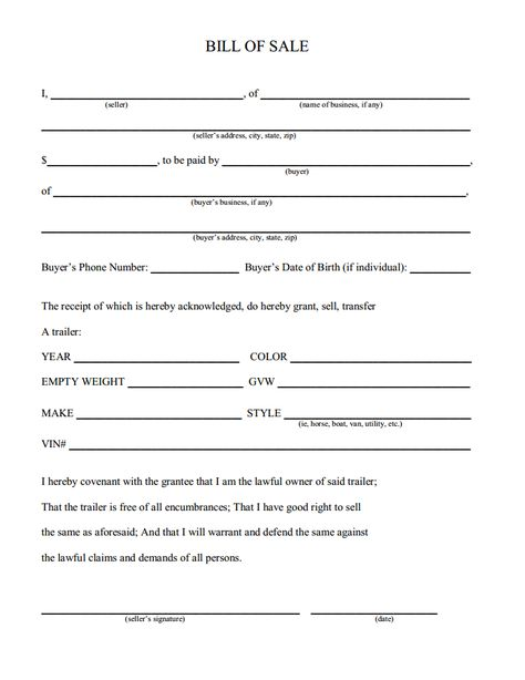 Printable Sample Champer Bill Of Sale Form  Download Real Estate