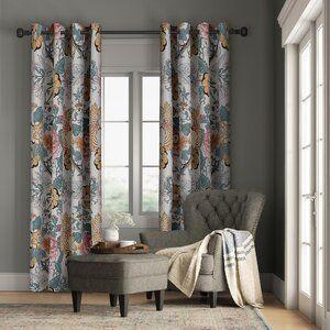 Armando Floral Handmade Tufted Taupe Ivory Rug Floral Room Rod Pocket Curtain Panels Rod Pocket Curtains