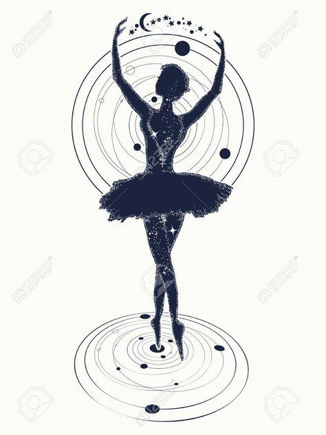 Ballerine danse dans le tatouage de l'espace. Symbole de l'art, de la poésie, de la philosophie. Gracieuse fille dansant dans la conception de t-shirt de l'espace lointain Banque d'images - 75397694