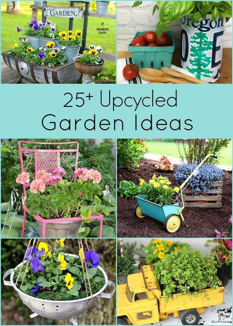 Garden Art 65760 Over 25 creative upcycled garden ideas. Repurposing thrift store and discarded items is a great inexpensive way to create unique garden art and decor. Garden Crafts, Diy Garden Decor, Garden Decorations, Yard Art Crafts, Recycled Garden Art, Outdoor Garden Decor, Diy Garden Projects, Art Projects, Diy Playground