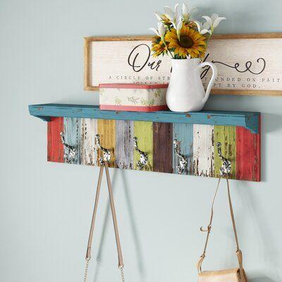 August Grove Peterkin Panel Wall Shelf With Hooks Wall Shelf