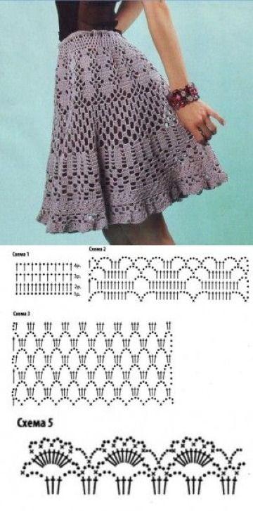 15bef118f 3 Patrones de faldas tejidas a crochet gratis y sencillos   tejido ...