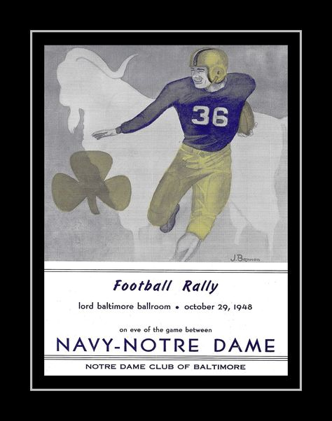 1940s Vintage Notre Dame, Navy Football Poster, Retro Illustration Wall Art, Gift for Men, 1948 Catholic Wall Decor, Office, 8x10