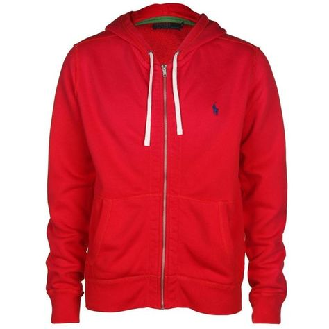 22dc78a08c3 Polo Ralph Lauren Men s Seasonal Fleece Lacquer Red Hooded Sweat Top ( 100)  ❤ liked on Polyvore featuring men s fashion