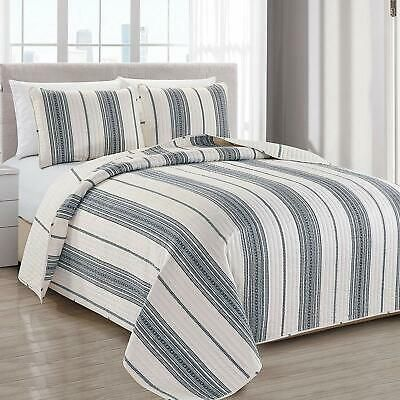 Twin Full Queen King Bed Navy Blue White Geometric Stripe 3pc Quilt Set Coverlet In 2020 Coverlet Bedding Quilt Sets King Size Quilt