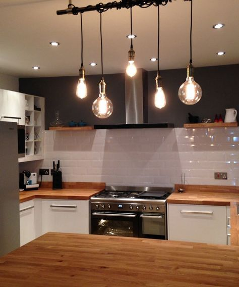 5 Pendant Cluster Light - Custom made to order. One fixture with many options! See pictures for many available cord colors, socket finishes, and