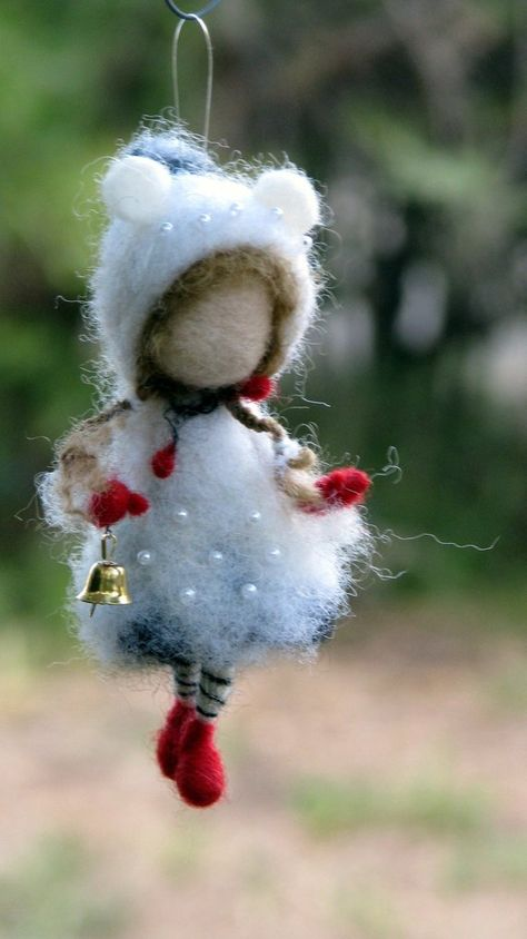 Christmas Winter Ornament Needle felted Waldorf inspired Home decor