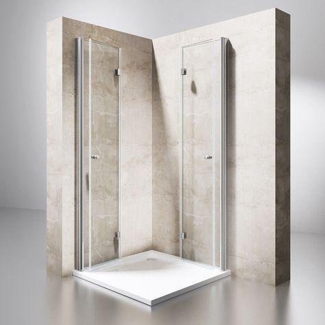 Dusche Duschkabine Falttur Echtglas Duschabtrennung Eckeinstieg
