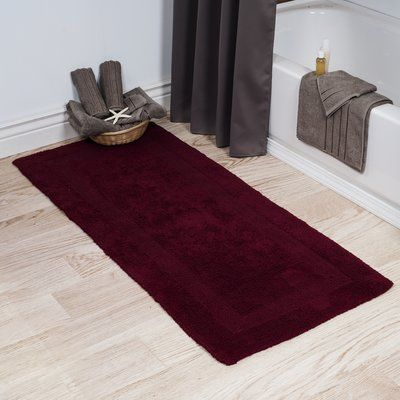 Three Posts Berndt Extra Long Reversible Bath Rug Color Burgundy