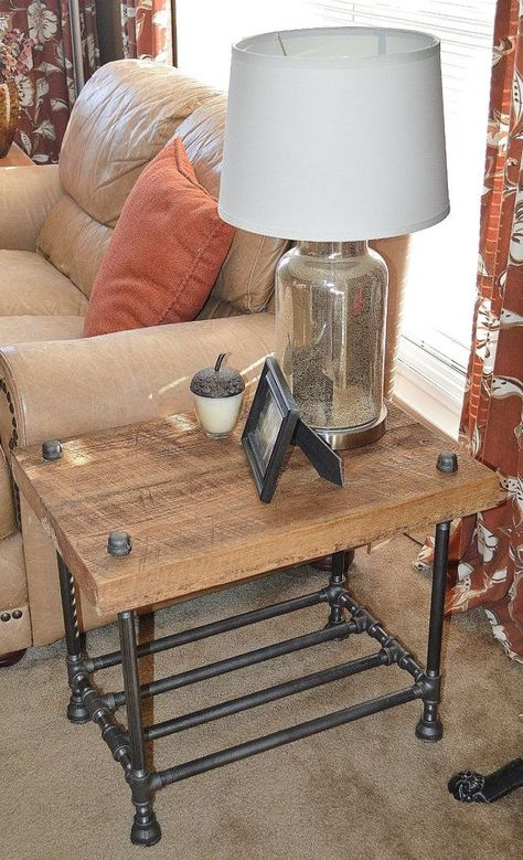 Items similar to Reclaimed Barn Wood End Table Coffee Table Night Stand Side Table on Etsy Reclaimed Furniture, Vintage Industrial Furniture, Pipe Furniture, Reclaimed Barn Wood, Furniture Projects, Wood Projects, Furniture Design, Industrial Pipe, Industrial Style