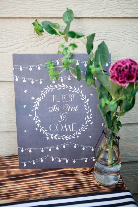 The best is yet to come sign | Connie Dai Photography | http://burnettsboards.com/2014/01/style-backyard-engagement-party/