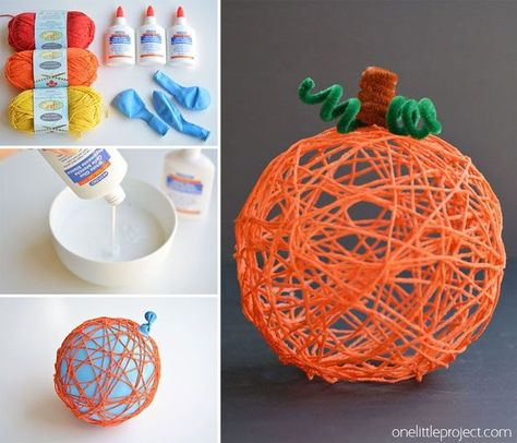 These yarn pumpkins are such a fun fall craft idea! They'd make a BEAUTIFUL centerpiece or mantle decoration, or you could even use them for Halloween! So pretty!