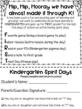 Last Week of Kindergarten Spirit Days EDITABLE Letter | End