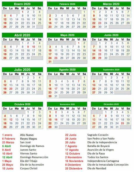Calendario Festivos Colombia 2020 En 2020 Festivos En Colombia