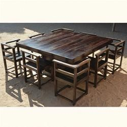 Modern Rustic Solid Wood 64 Square Pedestal Table W 8 Chairs