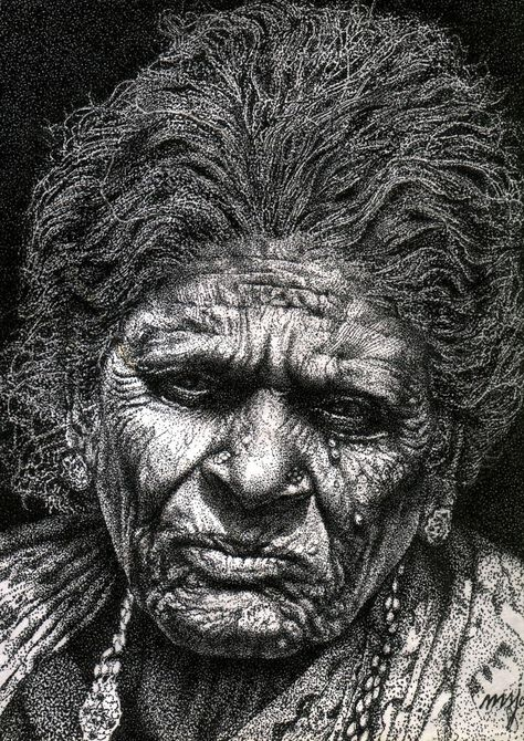 old woman in dot work - Sketching by Samuel Johnson in pen and ink drawings at touchtalent 31102