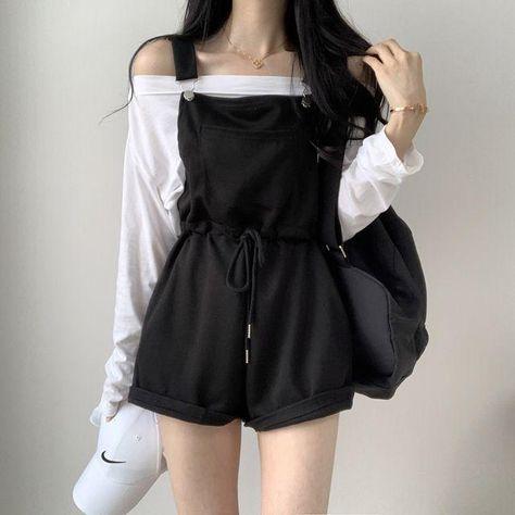 Overalls & Long-sleeved T-shirt - Black overalls / S