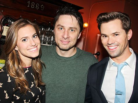 | STAGE HANDS | Bullets over Broadway star Zach Braff finds himself some fabulous fans in Girls's Allison Williams and Andrew Rannells backstage on Sunday.