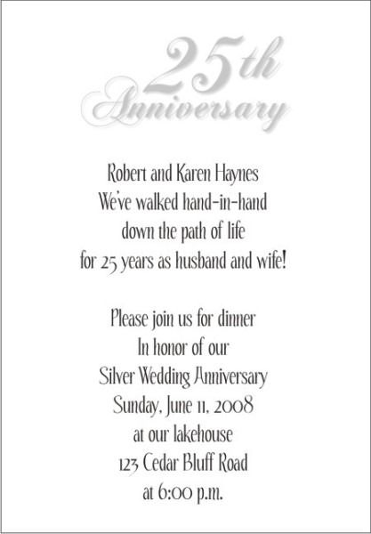 25 Wedding Anniversary Invitations Templates Party