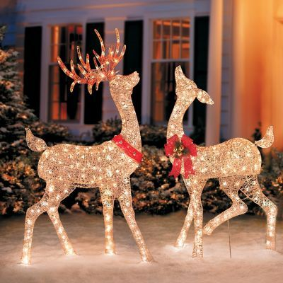 You Ll Be Putting On The Glitz In Your Yard With Our Glittering Reindeer S Outdoor Christmas Reindeer Christmas Reindeer Decorations Christmas Deer Decorations