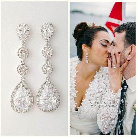 Wedding Earrings Teardrop Rose Gold