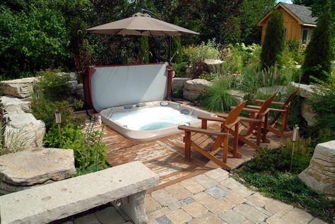 Le bien-être du0027un spa en terrasse idee deco - home Pinterest - amenagement jardin avec spa