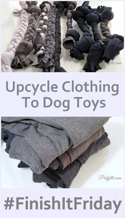 Have old sweatpants or clothes you don't use anymore? This is a great way to put them to use in a way your dog can appreciate. These upcycled dog toys are completely homemade, giving you a DIY project that saves money and clears out your closet a little at the same time.