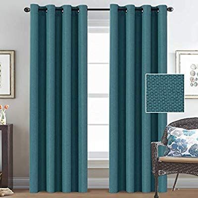 Amazon Com H Versailtex Linen Curtains Blackout 84 Inches Long Thermal Insula Blue Curtains Living Room Turquoise Blue Curtains Turquoise Curtains Living Room
