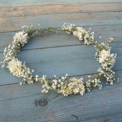 Boho Purity Dried Flower Hair Crown by EnglishFlowerFarmer on Etsy