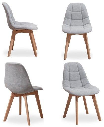 Krzeslo Tapicerowane Amelia Jasny Szary Zestaw 8144626070 Oficjalne Archiwum Allegro Furniture Home Decor Dining Chairs