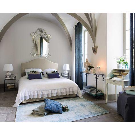 Camere Da Letto Maison Du Monde.Letto Sfoderabile In Lino 160x200 Cm Tappeto Blu Belle Camere