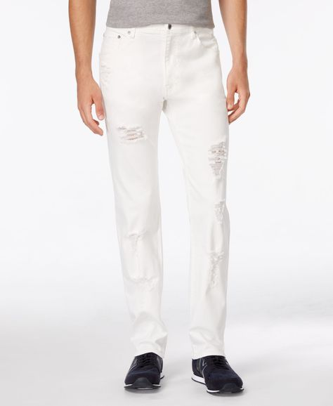 Armani Exchange Men's Straight-Fit White Destroyed Jeans
