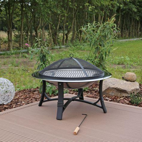 Tavolo Da Giardino Con Barbecue.Braciere Da Giardino Con Grill In Acciaio Inox Amazon It