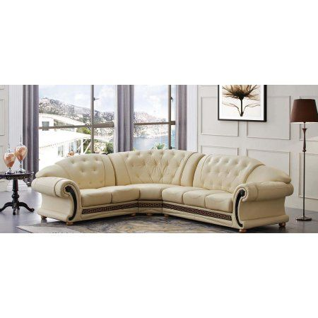Esf Versachi Luxury Beige Genuine Top Grain Italian Leather Sectional Sofa Left Leathersectionalsofas With Images Leather Sectional Sofas Living Room Setup Sectional Sofa