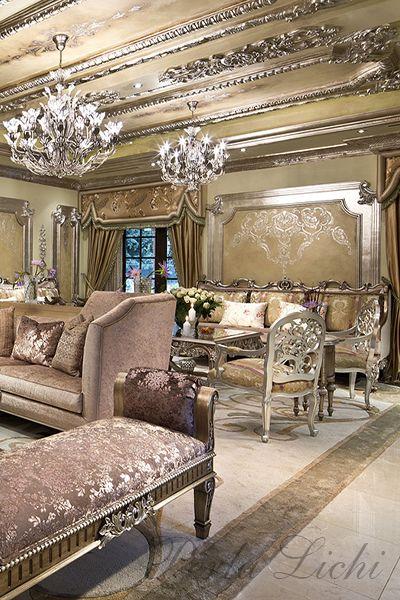 Romantic Opulent Living Room French Style Custom Draperies