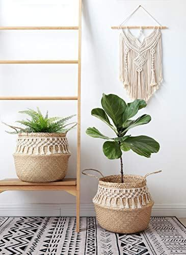 Mkono Seagrass Plant Basket Indoor Planter Decorative Flower Pot Cover Up To 12 Inch Pot With Macrame Wrap L Decorated Flower Pots Plant Basket Plant Pot Covers