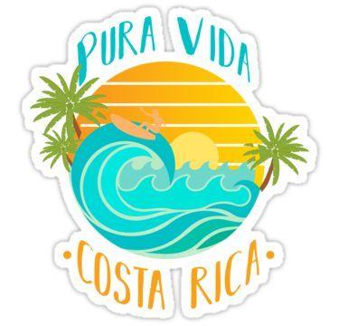 Pura Vida Costa Rica Sticker By Tomgiantdesigns Print Stickers Costa Rica Art Pura Vida
