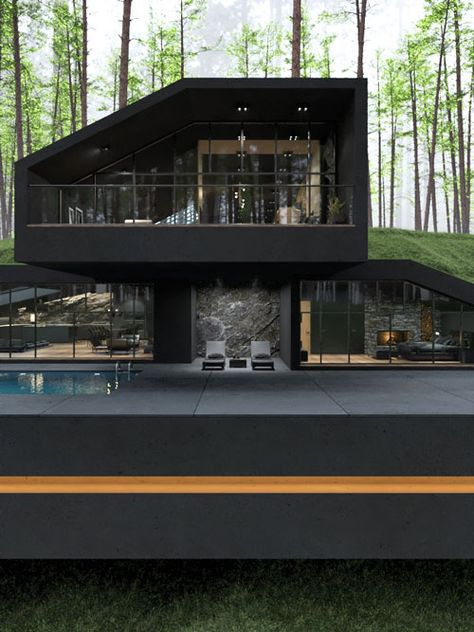 The Black Villa is an impressive piece of modern architecture that sits in striking contrast with the surrounding greenery and hills.