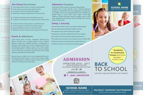 FREE tri-fold brochure for school File formats PSD, AI, CDR, PDF - sample preschool brochure