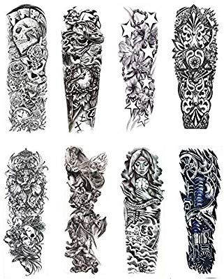 Amazon Com Adecco Llc 8 Sheets Full Arm Temporary Tattoos Extra Large Fake Tattoos For Men And Tattoos For Guys Arm Temporary Tattoos Back Tattoos For Guys
