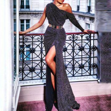 Women's Elegant Paillette Slit Single Off-shoulder High-waist Evening Dress