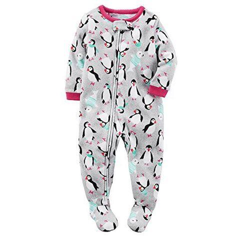 Carters Baby Girls Infant Microfleece Blanket Sleeper Penguins White