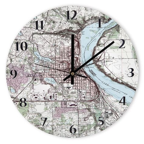 The Personalized Topographic Map Clock   Hammacher Schlemmer