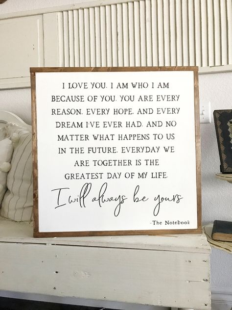 The Notebook Quote Wooden Framed Sign Farmhouse sign Wedding | Etsy